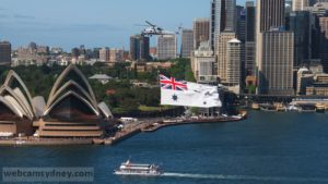 Royal Australian Navy helicopter and flag 4 Oct 2013